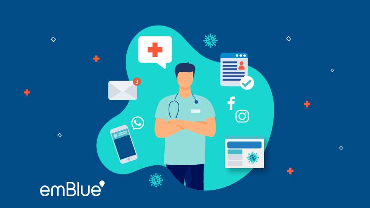 Marketing hospitalario ilustración de médico en un entorno digital